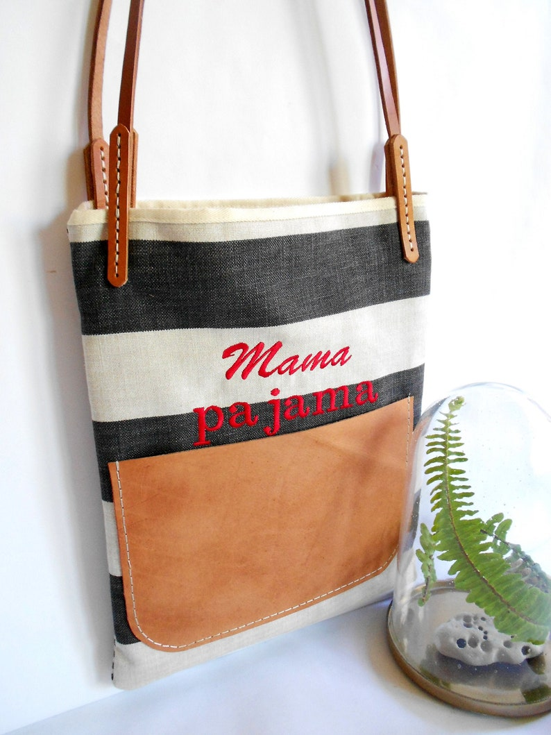 Mama Pajama Black and White Stripe Over the Shoulder Tote Bag with Vegetable Tanned Leather Straps and Handstitched Pocket