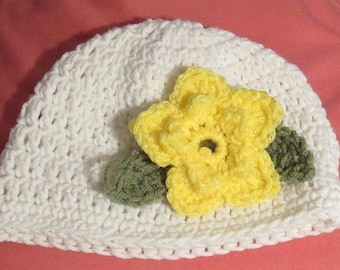 Hat with 2 Flowers and Leaves, instant download, photo prop pattern   PDF 02
