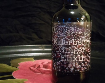 Elderberry Ginger Elixir: Delicious Remedy for Immune Support with Yarrow & Self-Heal Flower Essence and Local Honey