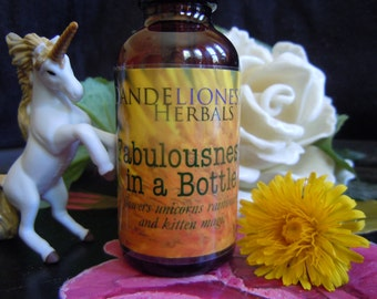 Fabulousness In A Bottle: flowers unicorns rainbows kitten magic! Herbal elixir w/ Lemon Balm, Dandelion, Tulsi, Red Clover, Alchemilla dew