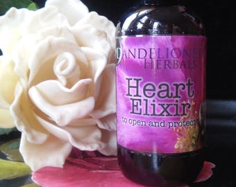 Heart Elixir: Remedy to Open and Protect the Heart with Rose, Tulsi, Flower Essences of Yarrow, Magenta Lotus, Johnny Jump-up, Hawthorn