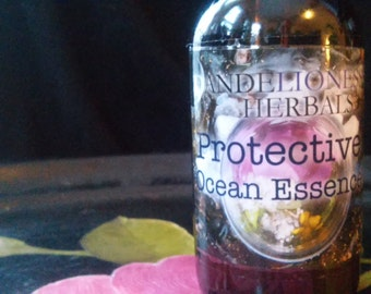 Protective Ocean Essence: The Ocean in a Bottle with Rose petals, Rose hips, Local Honey, and flower essences 2 oz