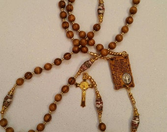 Olive Wood Beaded Rosary With Hail Mary Centerpeice And Handmade Our Father Beads