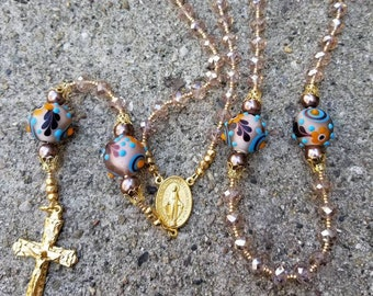 Taupe Beaded Miraculous Medal Rosary With Lampwork Beads