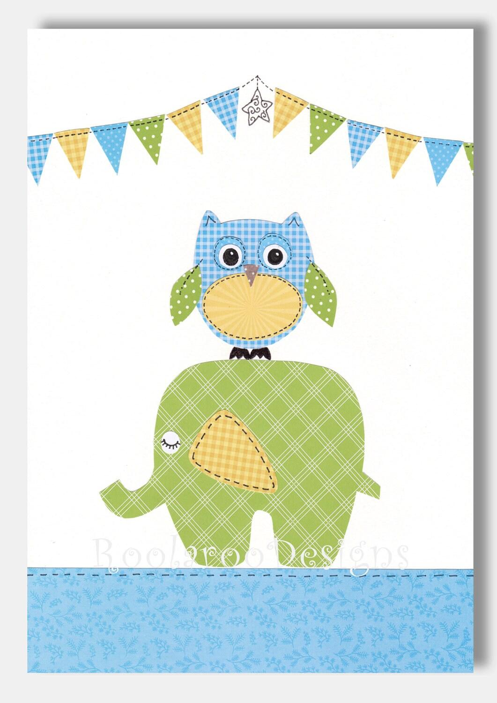 Nursery Art Print Elephant Nursery Decor Owl Decor Baby