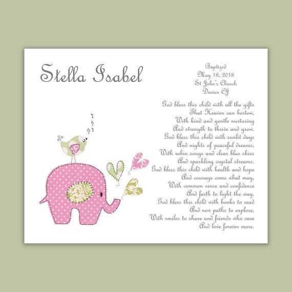 Taufgeschenk Von Paten Babymädchen Taufe Geschenk Taufe Geschenk Für Patenkind Religiöse Geschenk Elefant Kinderzimmer Kunst Druck