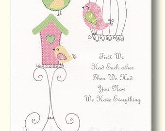 Nursery Artwork  Bird Nursery Art Print, Girls Room, Kids Wall Art, Bird Cage, Nursery Decor,  You Are Our Everything. - PRINT
