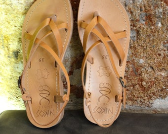 "Greek Leather Sandals ""hypatia"" code #13"