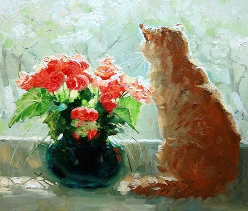 High Quality oil painting On Canvas Hand painted Modern art Lovely Cat  DA101B