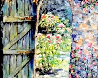 """Fine Art 8 X 10"""" Print of my Original Oil Painting """"Thru the Garden Door"""""""