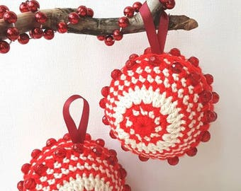 Crochet baubles, red and white baubles, tree decorations, beaded baubles, decorative baubles