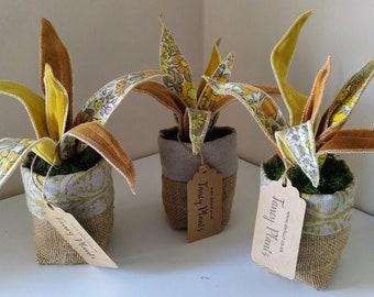 Vintage fabric 'fancy Plant' handmade house plant