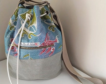 Vintage fabric cross body bag with adjustable strap