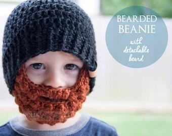 Bearded Beanie Hat (with detachable beard) - Crochet Hat