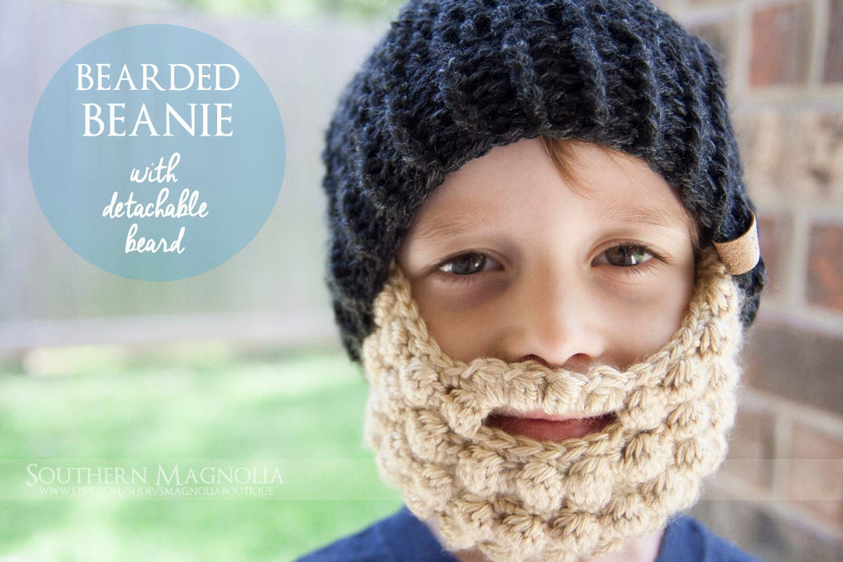06c4f6940c8 Bearded Beanie Hat with detachable beard Crochet Hat
