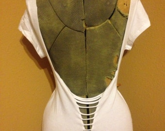 Olive green cut up T-shirt shredded weaved festival dress hippy 34 sleeve mini dress super soft stretchy slashed tee reconstructed top