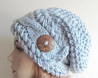 e347c7f4bd30bd Slouchy Beanie Slouch Cable Hats Oversized Baggy Beret Button womens fall  winter accessory Light Blue Gray Super Chunky Hand Made Knit