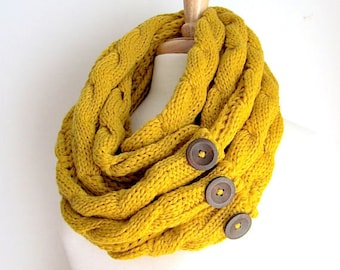 Mustard Infinity Scarf Braided Cable Knit Neckwarmer Yellow Gold Circle Loop Scarves Buttons Womens Accessories
