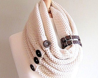 SALE - Cream Infinity Knit Scarf with Brown Buttons and Leather Cuff Neck Warmer Ivory White Scarves Women Girls Accessories