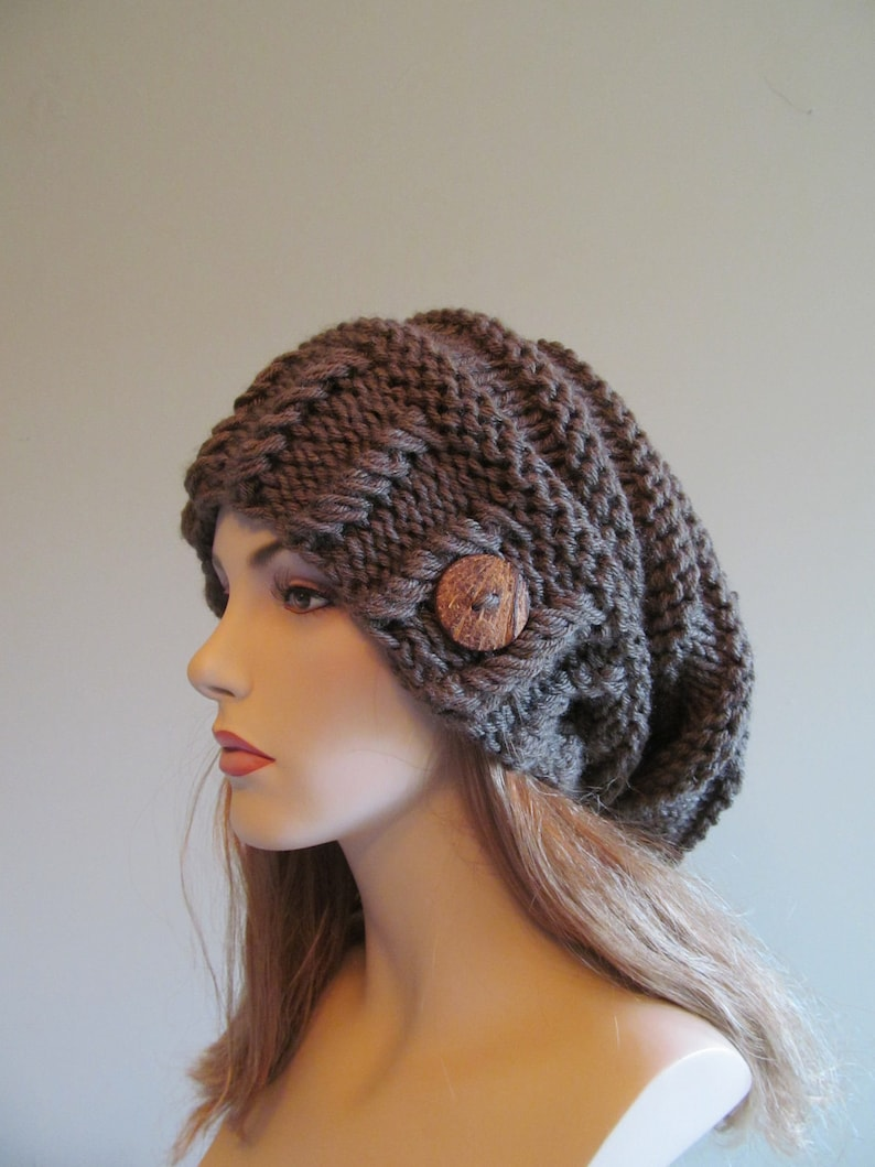 4c46ae627 Slouchy Beanie Slouch Hats Oversized Baggy Beret Button womens fall winter  accessory Taupe Grey Super Chunky Hand Made Knit
