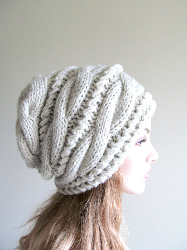 7bd80e506ed927 Slouchy Beanie Slouch Hats Oversized Baggy Gray cabled hat   Etsy