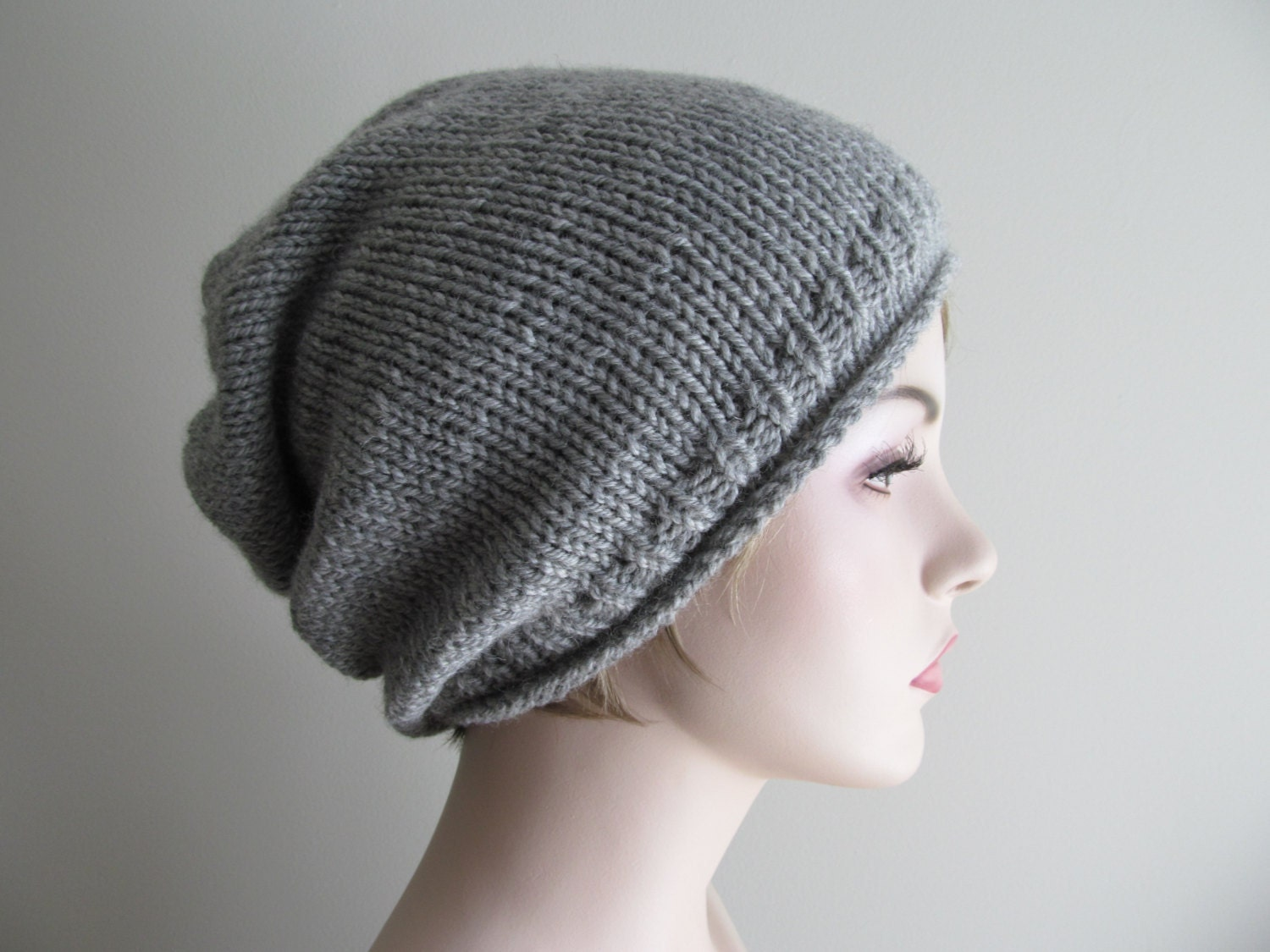Digital PDF Knitting Pattern Instant Download Grey Hipster Slouchy ...