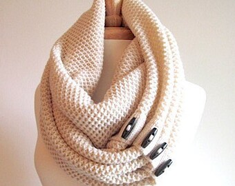 SALE - Cream Infinity Scarf Black Buttons Neck Warmer Scarves Women Girls Fall Winter Accessories