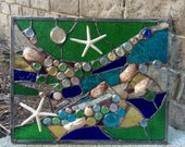 Stained Glass Window Tropical Starfish Sea Shell  Sailboat Suncatcher Ocean Panel OOAK