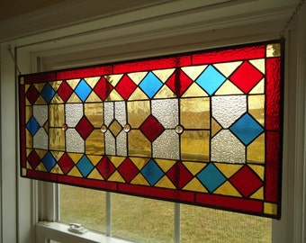 "Stained Glass Transom Window Suncatcher Panel Valance 30"" x 13.5"""
