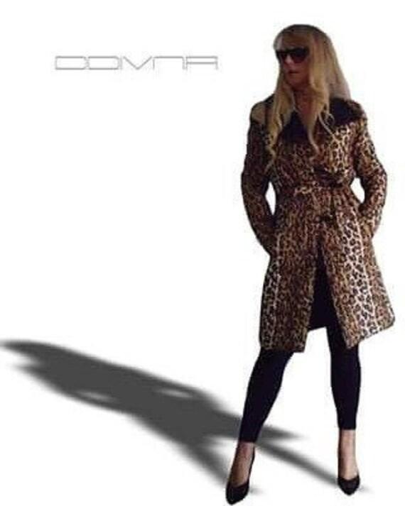 Winter European leopard colour womens praka outwear trench coat belted Jacket sz