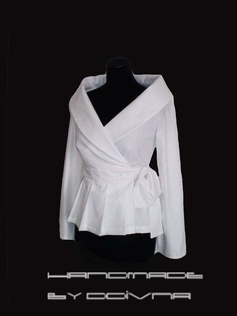 66c617817c507b White shirtWomen White Wrap Blousecotton blouse/Smart | Etsy