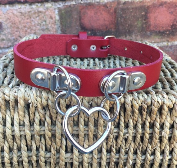Real Leather Heart Ring Choker Necklace Choice of Colour width 10mm or 20mm