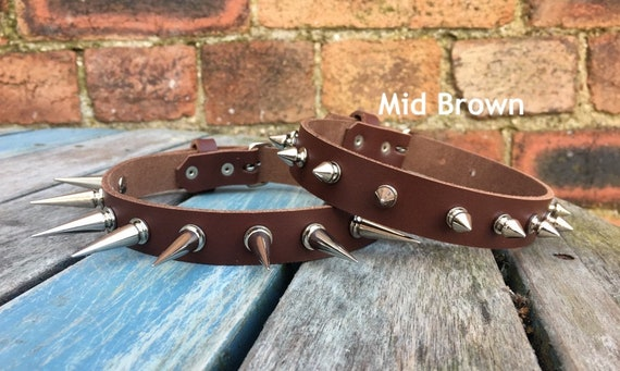 Real Leather Spiked Heart Ring Choker Necklace Choice of Colour /& Spike Handmade