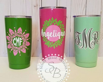 Monogrammed Powder Coated 20-ounce Yeti Rambler!