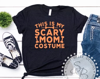 96470002 Adults Halloween shirt, Scary Mom Costume Halloween Shirt; Halloween party  shirt