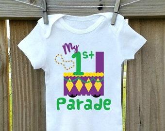 First Parade; First Mardi Gras Infant bodysuit; parade onesie; Mardi Gras Baby Clothes