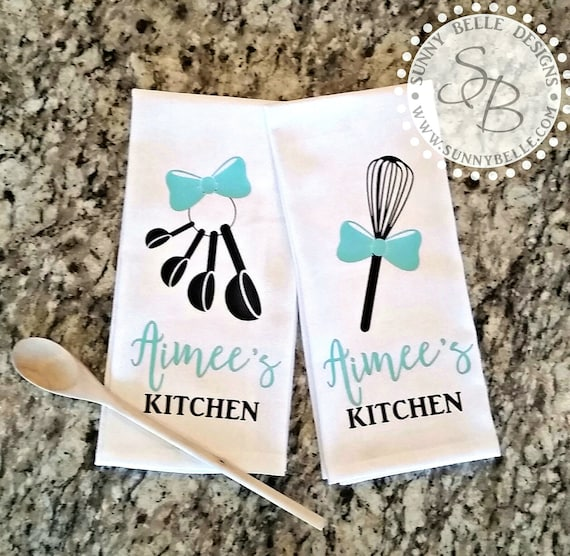 Personalized Kitchen Towels Set Of Two Monogrammed Kitchen Towels Bridal Shower Gift Wedding Gift Housewarming Gift Kitchen Shower