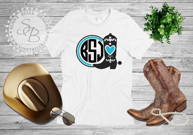 8e9f728f1d9 Cowgirl Boot Monogram Shirt; Southern Shirt; Ladies Shirt
