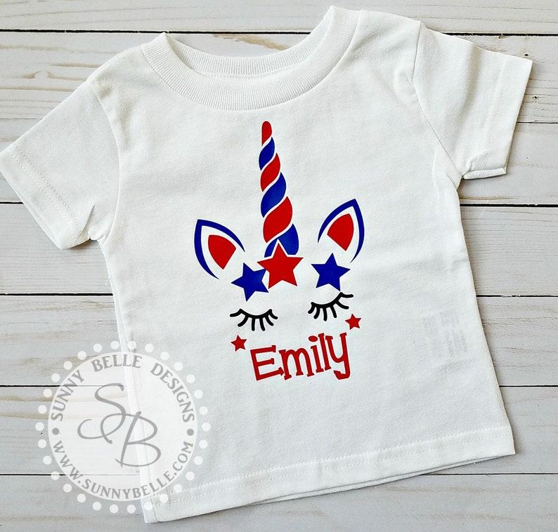 ffa9b644dc4d5 Personalized 4th of July Unicorn Shirt // 4th of July girls | Etsy