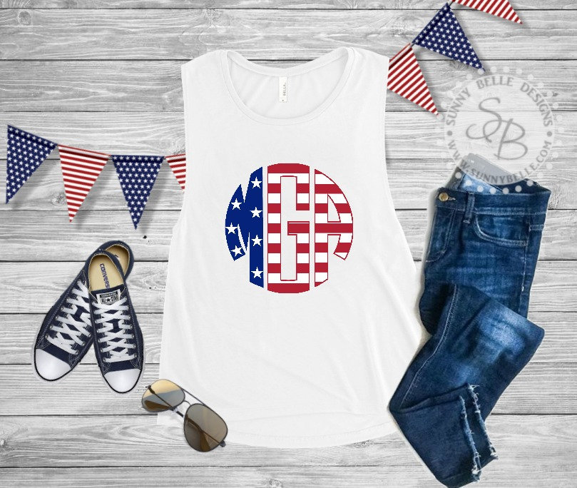 04ac83dc088 Flag Letter Monogram Shirt   Personalized Ladies 4th of July