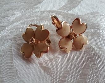 Enamel Dogwood Clip-on Earrings