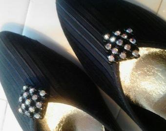 "Vintage Private Collection Dressy Black Pumps,  "" Swinger""  Size 8B   ECS"