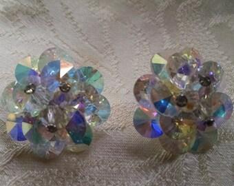 Vintage Crystal Cluster Earrings/ Clip-on Earrings