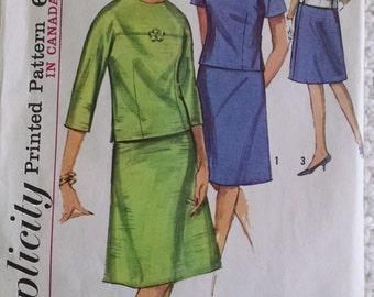 Vintage Simplicity Two-Piece Dress Pattern 5781, Size 16