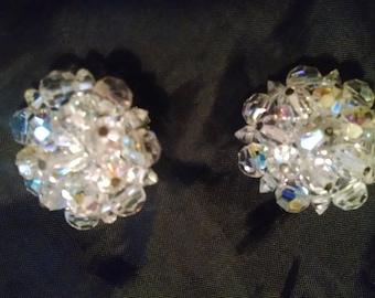 Vintage Crystal Cluster Earrings,   50s Clip-on Earrings
