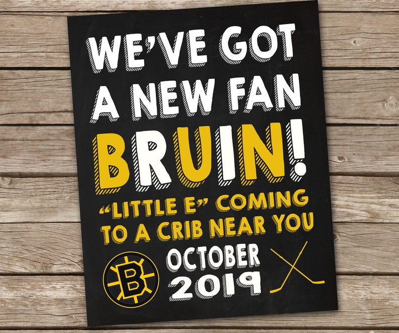 photograph regarding Bruins Schedule Printable called Boston Bruins Humorous Printable Being pregnant Announcement - Printable Chalkboard Ice Hockey Contemporary Boy or girl Announcement Image Prop