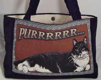 """Handcrafted fully-lined """"Pur-r-r-r-r-r-r"""" Cat Totebag w/three interior pockets"""
