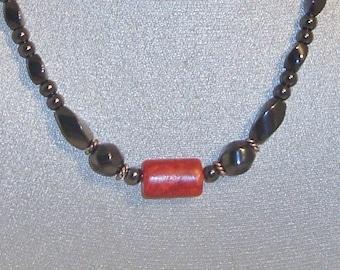 Magnetic Hematite Necklace Featuring Semi-precious Bloodstone Accent