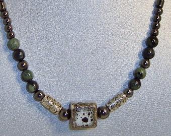 Magnetic Hematite Necklace Featuring Ceramic Cube Detail