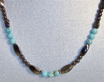 Magnetic Hematite Necklace Featuring Stabilized Turquoise Beads